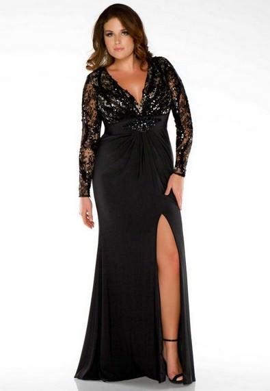 Чорне випускне плаття 2013 з розрізом для повних e66e44694a209